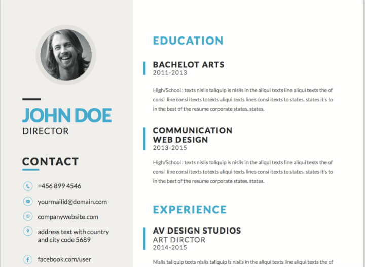 Blue Accented Resume Template